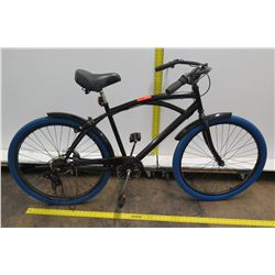 Black Men's Cruiser Bike w/ Shimano Gears & Blue Tires