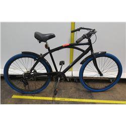 Black Men's Cruiser Bike w/ Shimano Gears & Blue Tires