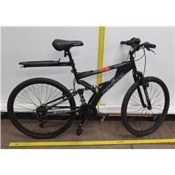 Hyper Havoc Men's Black 21-Speed Full Suspension Mountain Bike w/ Rack