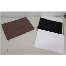 "Louis Vuitton Paris Black Logo 26"" x 74"" Scarf in Box"