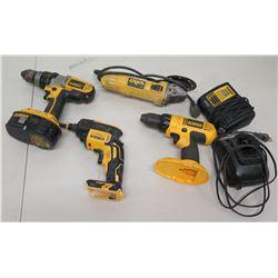 Qty 4 DeWalt Tools - DCF620 Drywall Screwgun, DC750 Drill/Driver, Charger, etc