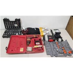 Multiple Misc Tools - Drill Driver, Craftsman Inflator, Ratchet & Socket Sets, etc