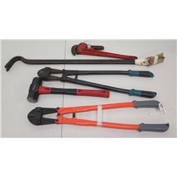 Qty 2 Bolt Cutters, Pipe Wrench, Sledgehammer & Crowbar