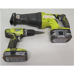 Qty 2 Ryobi Cordless Tools - P208B Drill Driver & P516 Reciprocating Saw