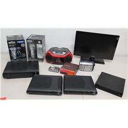 Qty 2 Braun Smart Shavers, 3 Cisco Routers, Coby Boom Box, Sony Handycam etc