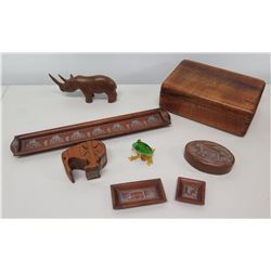 Qty 7 Carved Wood Pieces & Glass Frog - Trinket Boxes, Rhino, Puzzle Bird, etc