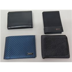 Qty 4 Designer Leather & Fabric Wallets: Tumi, Gucci, etc