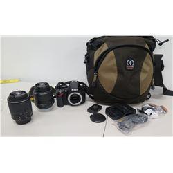 Nikon Digital Camera D3200 w/ 2 Lens DX 55-200mm/AF-X 18-55mm, Bag, etc