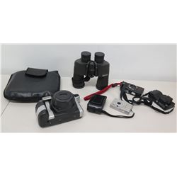 Qty 4 Cameras - Ricoh, Olympus, Canon, Instax & Pentax Binoculars w/ Bag