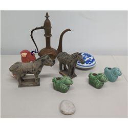Multiple Misc Asian Décor - 2 Carved Horses, Porcelain Animals & Tea Pot