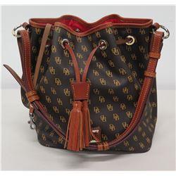 Dooney & Bourke Monogram Pebble Leather Drawstring Shoulder Bag
