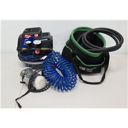 CH 110 PSI Air Compressor, Air Hose, AOSafety 8051 Cartridge, Cables, etc
