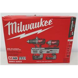 New Milwaukee M18 2983-22CX Hammer Drill & Impact Combo Kit in Case