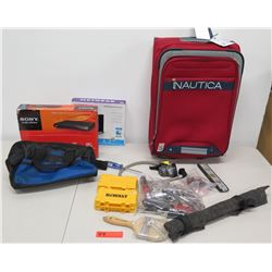 Sony DVP-SR210P DVD Player, Netgear N300 Router, Nautica Bag & Hand Tools