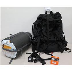 Asceno Thermal Mummy Sleeping Bag, Suaoki Lantern, Amazon Basics Backpack