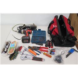 Black & Decker 12V Cordless Drill, Misc Hand Tools & Husky Bag