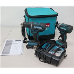 Qty 2 Makita XFD10 Drill Driver, XDT11 Impact Driver, Charger & Carry Bag
