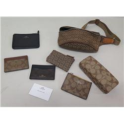 Qty 7 Coach Monogram Wallets, Coin Holders, Sunglass Case, etc