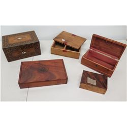 Qty 5 Wood Boxes - State of Hawaii, Koa Wood, Hogg Brothers, Carved, etc