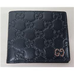 Gucci Italy Black Logo Folding Wallet w/ 8 Credit Card Slots