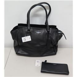 Coach New York Black Leather Tote Bag (Retail $518) & Wallet ($218)
