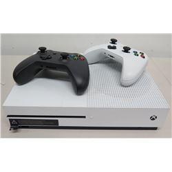Xbox One S HDMI Game Console w/ White & Black Wireless Controllers