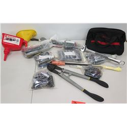 Multiple Misc Hand Tools - Bolt Cutter, Wrenches, Ratchets, Sockets, Funnels, etc