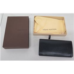 Louis Vuitton Black Folding Wallet w/ Card Slots & Change Purse, in Box
