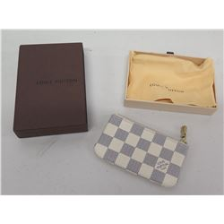 Louis Vuitton Blue/White Checkered Zippered Change Purse, in Box