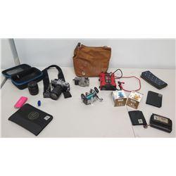 Canon AE-1 Camera, Fishing Reel, Bag, Lens