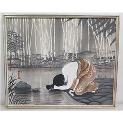 "Large Framed 46"" x 38"" Asian Art on Canvas, Praying Figure, Japanese Characters"