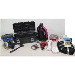 Ryobi Circular Saw, Black & Decker Drill Driver, Sheffield Field Box, Tire Iron, Toolbox
