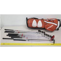 Qty 10 Slotline Tungsten & Covert Golf Clubs & Putters w/ Texas Longhorns Golf Bag
