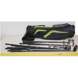 Qty 13 XS Tech & King Cobra Golf Clubs & Putters w/ Black Golf Bag