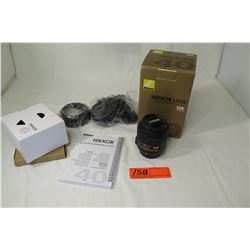 Nikon Nikkor Lens, AF-S DX Micro 40mm f/1:2.8G w/Cap, Filter, Hood (not from HPD)