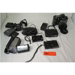 Misc Cameras: Nikon D70 w/ Lens, Nikon Coolpix, Sony HDR-XR100 Video Camera, Cannon PC1250, etc (not