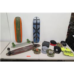 2 Skateboards, 2 Decks, Misc. Baseball Caps, T-Shirt, etc (not from HPD)