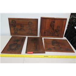 Qty 5 Laser-Etched Wooden Hawaiiana Plaques (not from HPD)