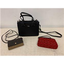 Brown Coach Monogram Wallet/Credit Card Holder, Red Monogram Purse & Black Bag