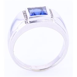 LARGE 3.00 ct. Blue Sapphire & Diamond 10K Ring