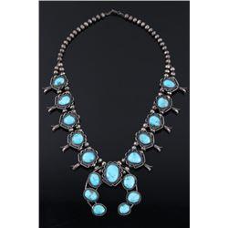 Navajo Blue Gem Turquoise Squash Blossom