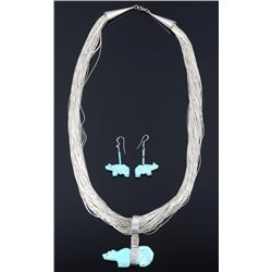 Navajo Liquid Silver & Cripple Creek Turquoise Set