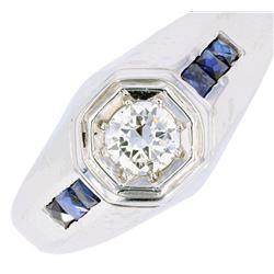 Pre-1920's Art Deco Diamond & Sapphire 18k Ring