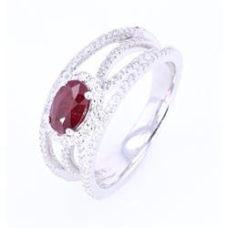 Natural Untreated Ruby & Diamond Platinum Ring