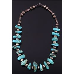 Navajo Bisbee Turquoise & Sterling Silver Necklace