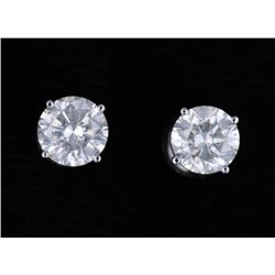 Vintage Estate 2.06 ct. Diamond 18K Stud Earrings