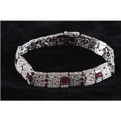 Art Deco Ruby & VS2 Diamond Platinum Bracelet