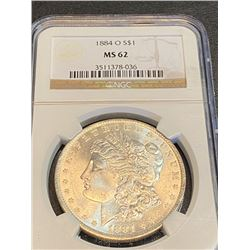 1884 o MS 62 NGC Morgan Silver Dollar