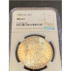 1885 CC MS 63 NGC Morgan Silver Dollar