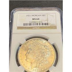 1921 MS 64 NGC Morgan Silver Dollar